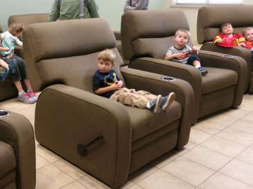 Logan, Jeff, and I really liked the big comfy chairs for watching training videos and movies.