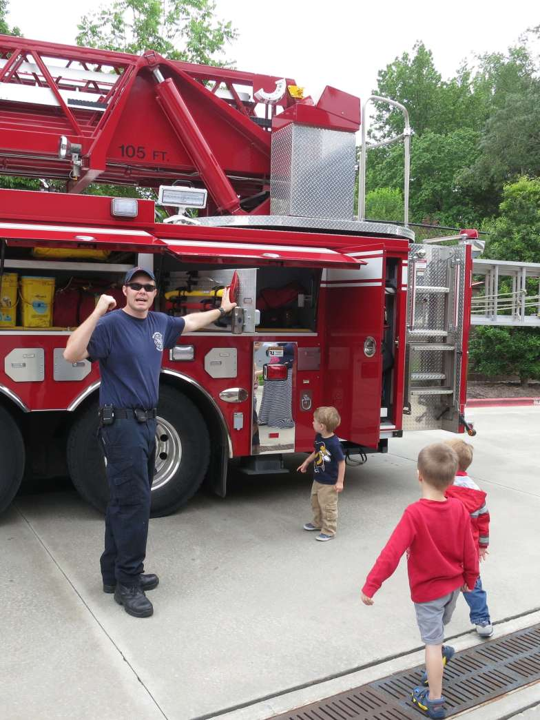 There's lot of equipment stored on the fire truck, too!