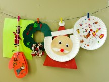 Even more Christmas crafts! Reindeer & gingerbread stickers, mittens, a wreath, and Santa Clause.