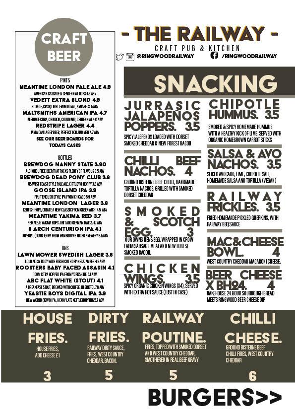 The Railway Craft Pub and Kitchen Menu Summer 2017 Snacking