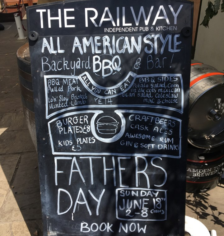 The Railway craft pub and kitchen, american style backyard all you can eat BBQ for Fathers Day