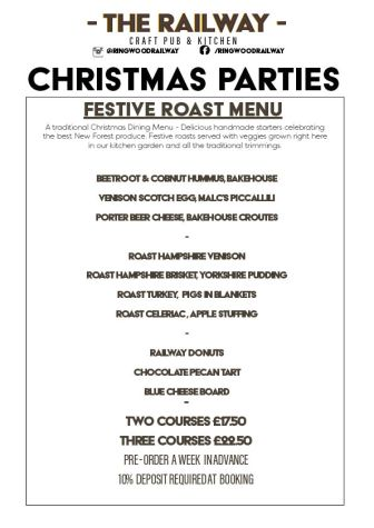 Traditional Festive Christmas Party Roast Menu with Vegan options Ringwood