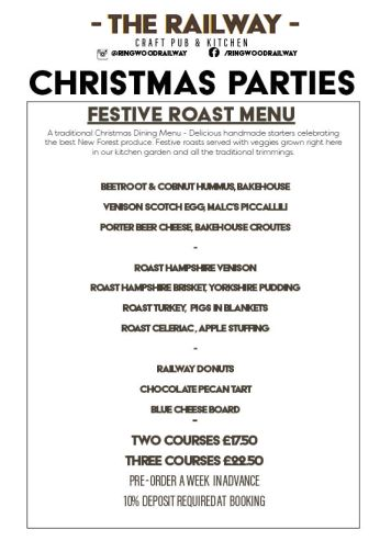 Traditional Festive Christmas Party Roast Menu with Vegan options Ringwood