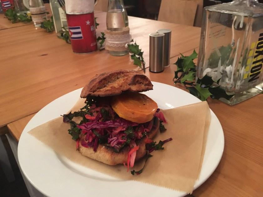 Vegan friendly pub and burger joint- the Railway maple glazed sweet potato burger