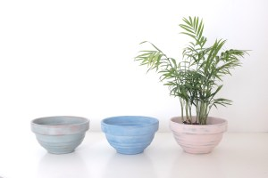 Manon (duck egg blue distressed), Celine (light blue with white wash), Carouge (pink distressed) pots