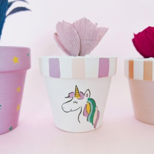 Ubiquitous Unicorn Planter Pot with chestnut rosette (paper succulent)