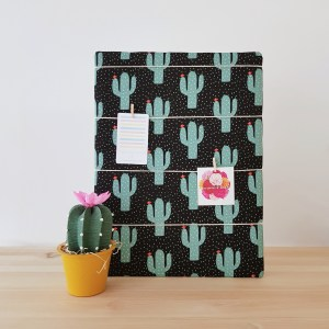 Night Cactus memo board with handcrafted cactus