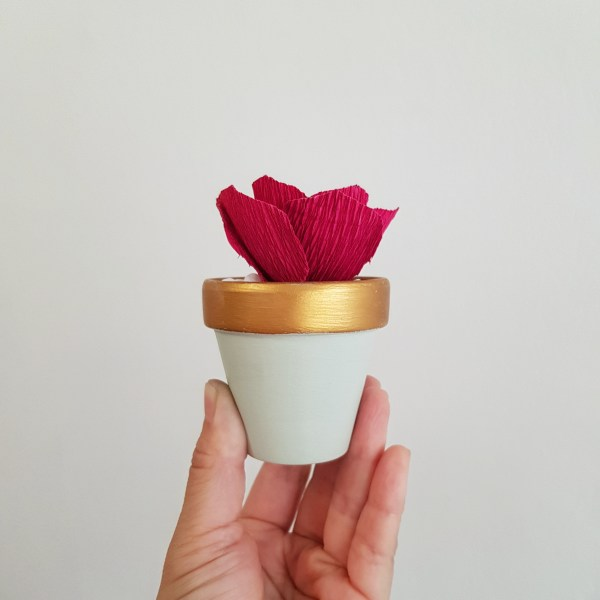 Jade Pot with Paper Succulent by Miss Petal and Bloom