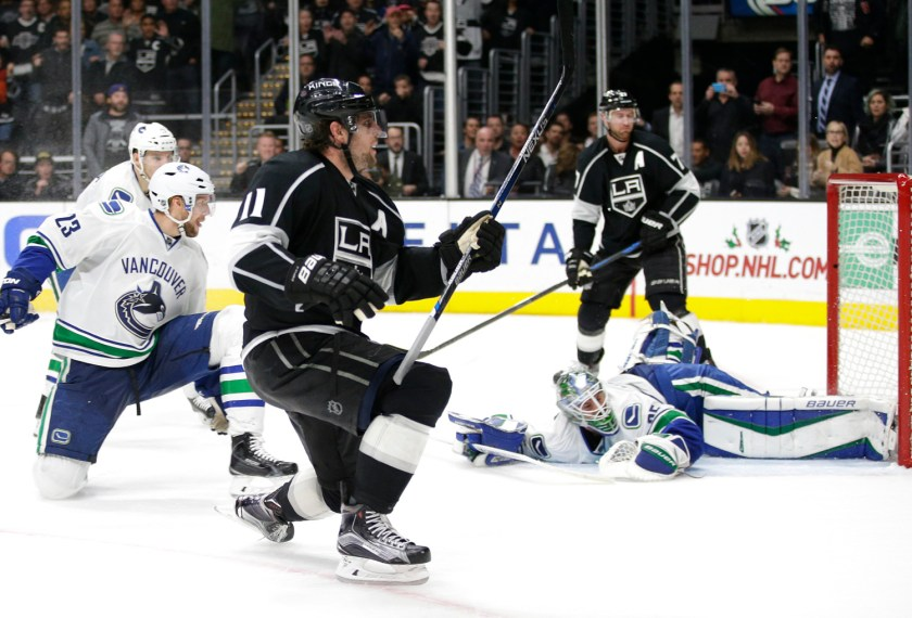 Anze Kopitar celebrates netting the game-winning goal in the Kings' 2-1 victory over the Vancouver Canucks on Dec. 2 following a 3-on-3 overtime. (Jae C. Hong / AP)
