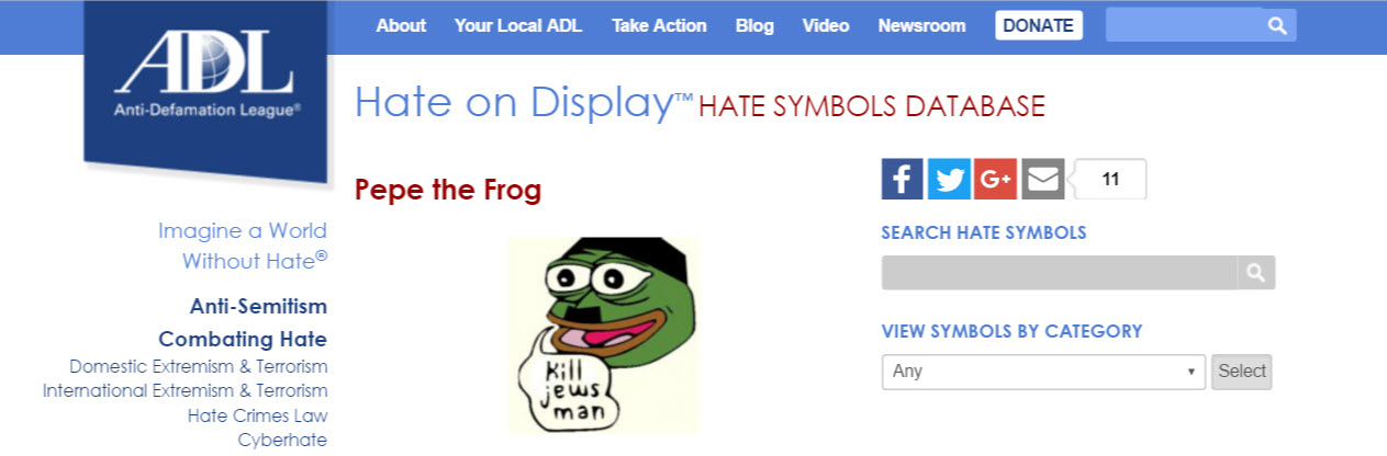 Oy Vey Poor Pepe The Frog Labeled Official Hate Symbol By The Adl