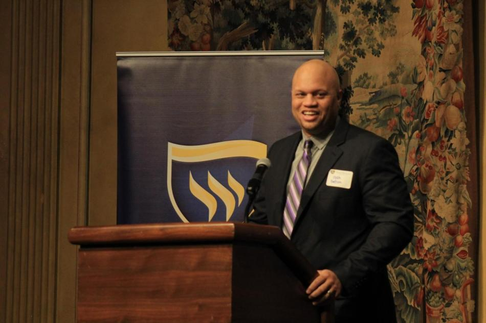 Distinguished Alumnus, Dr. Joshua Gatson '00, spoke at the Alumni Medal Dinner on Friday at the Fort Worth Club. Photo by Shaydi Paramore
