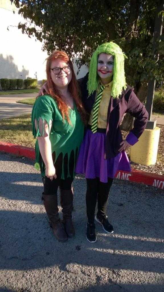 Shaydi Paramore (left) and friend Amanda Roach (dressed as the Joker) after returning from Dallas Fan Days on Sunday. Photo by Eddy Lynton
