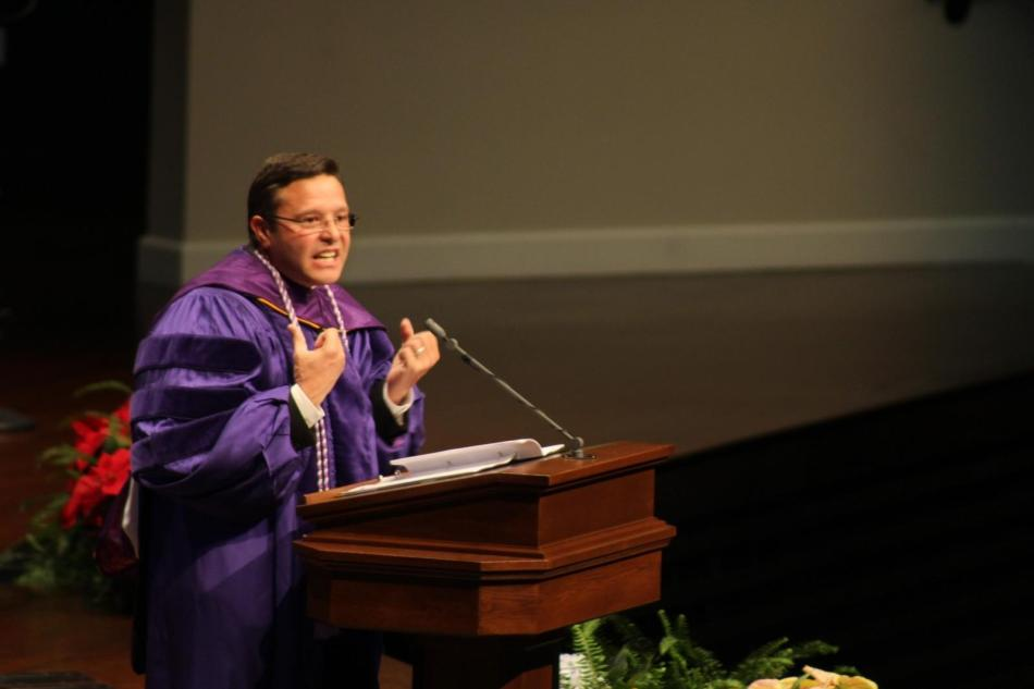 Alumnus Juan Quintana gave the commencement address at the graduation ceremony on Saturday. Photo by Shaydi Paramore