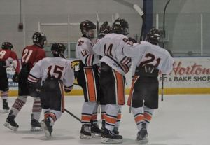 The Ramblers celebrate one of many goals against Meadville.