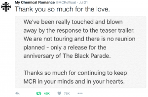 mcr, not coming back, my chemical romance, black parade