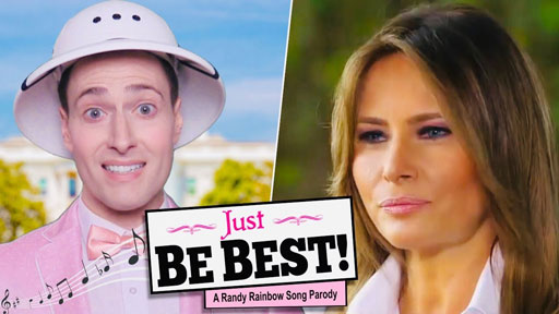 """With lightning speed, political satirist Randy Rainbow delivers another winning parody with his take on the Beauty and the Beast showstopper, """"Be Our Guest."""""""