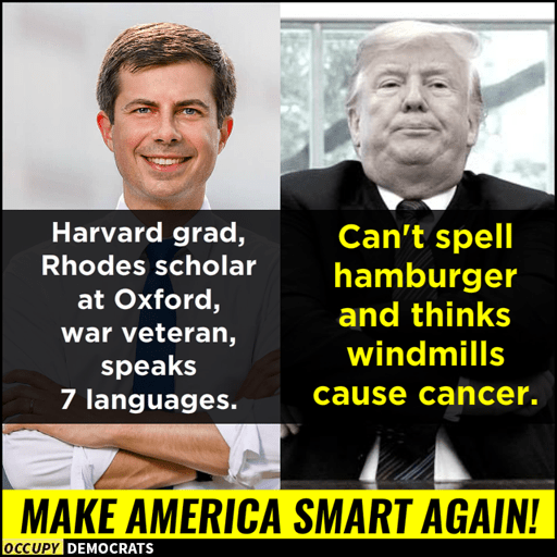 Mayor Pete Buttigieg - Harvard grad, Rhodes scholar at Oxford, war veteran, speaks 7 languages. Donald Trump - Can't spell hamburger and thinks windmills cause cancer.