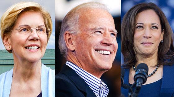 Sens. Elizabeth Warren and Kamala Harris with former Vice President Joe Biden