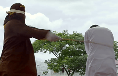 A gay man is caned in Malaysia