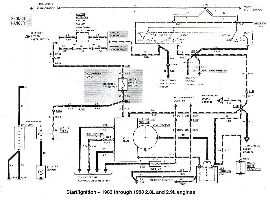 89 mustang alternator wiring diagram horse tack ford ranger & bronco ii electrical diagrams at the station