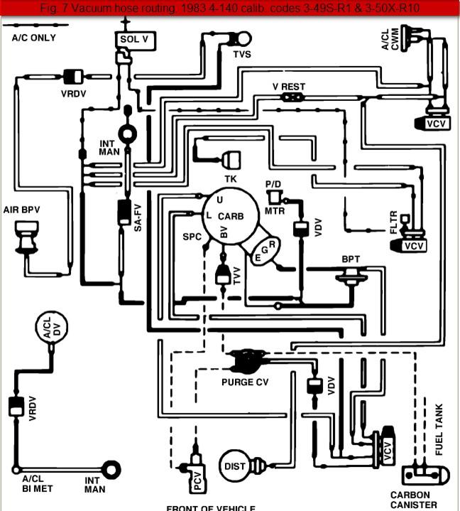1984 Ford Ranger 2.3-Liter 4-Cylinder Vacuum Line Diagram