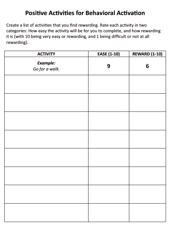 Positive Activities For Behavioral Activation (worksheet)  Therapist Aid