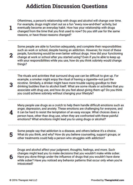 Stages Of Change Worksheet : stages, change, worksheet, Addiction, Discussion, Questions, (Worksheet), Therapist