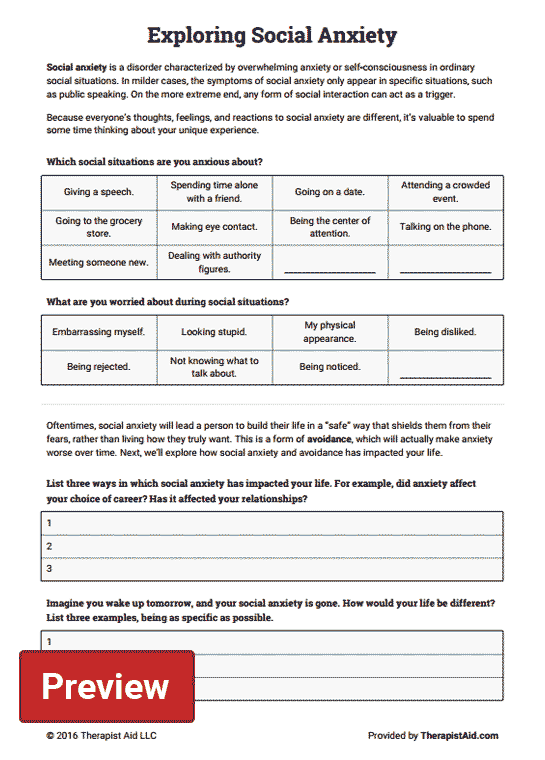Exploring Social Anxiety (worksheet)  Therapist Aid