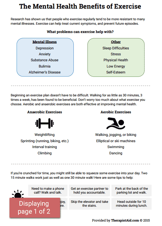 Mental Health Benefits Of Exercise (worksheet)  Therapist Aid