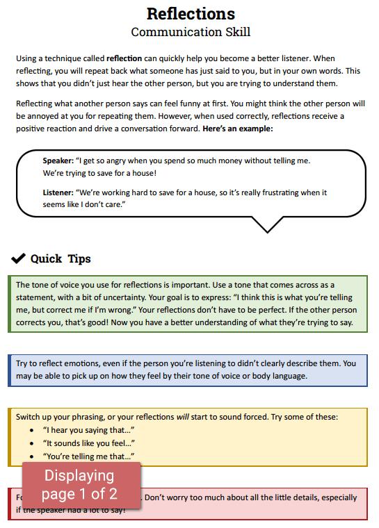 Reflections Communication Skill (worksheet)  Therapist Aid
