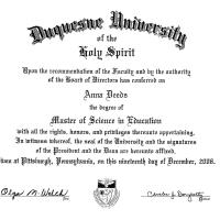 About Me - Anna Deeds' Duquesne University Degree