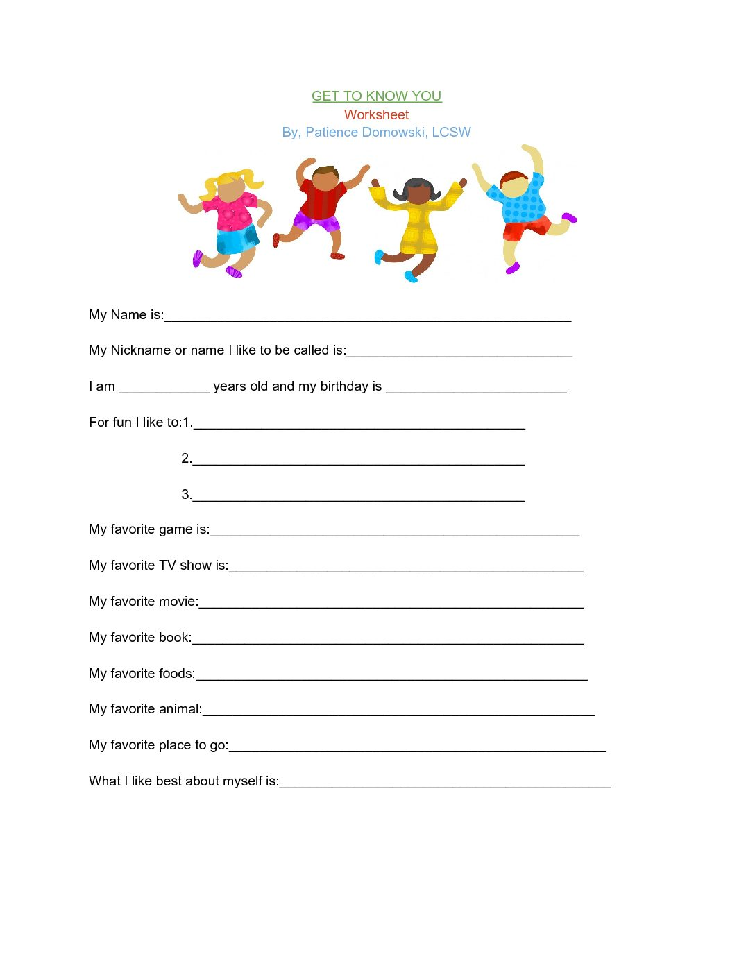 Get To Know You Rapport Building Worksheet