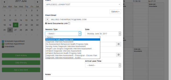 Screenshot 9 - Select Session Type