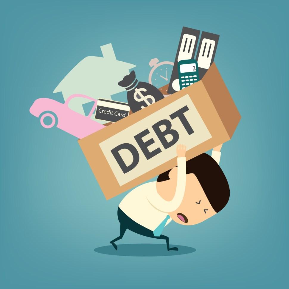 086-cartoon-businessman-shoulder-debt-box