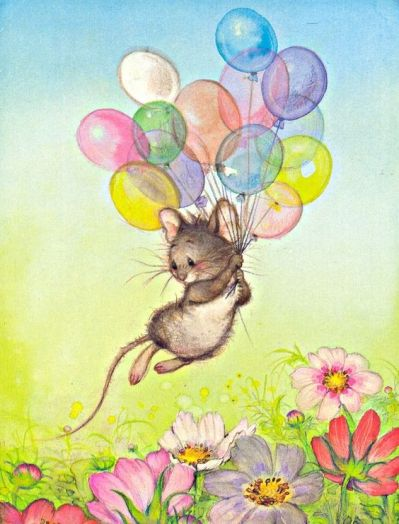 mouse with baloons