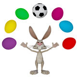 easter-bunny-playing-football-d-illustration-happy-white-rabbit-ball-eggs-50467995