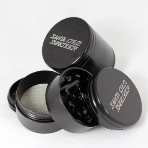 Medium Santa Cruz Shredder Black 4 Piece Grinder with a Cali Crusher® Pollen Press