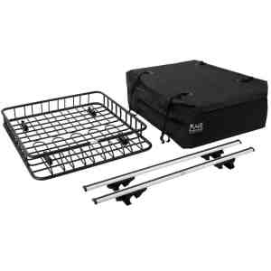 3pc Roof Rack Cargo Kit with Roof Basket, Load Bars & Storage Bag (Bundle)