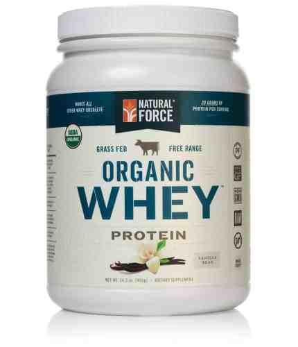 Natural Force® Organic Whey Protein Powder Grass Fed Whey – Undenatured Whey Protein – Raw Organic Whey, Paleo, Gluten Free Natural Whey Protein, Vanilla Bean, 14.3