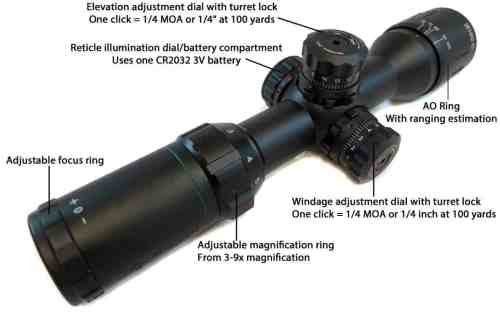 Monstrum Tactical 3-9x32 AO Rifle Scope with Illuminated Range Finder Reticle and High Profile Scope Rings