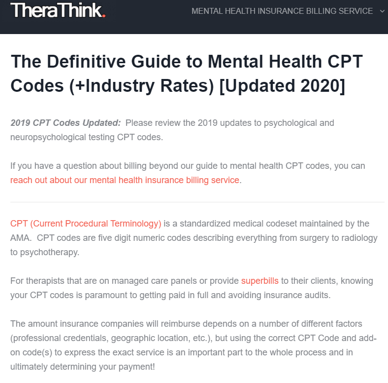 Mental Health Cpt Code Cheat Sheet Pdf 2020