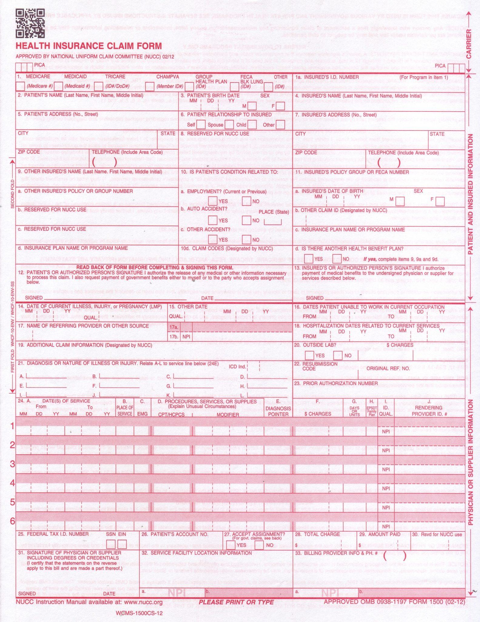 Mental Health CMS1500 Form Download JPG + PDF