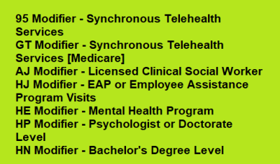 behavioral health modifiers