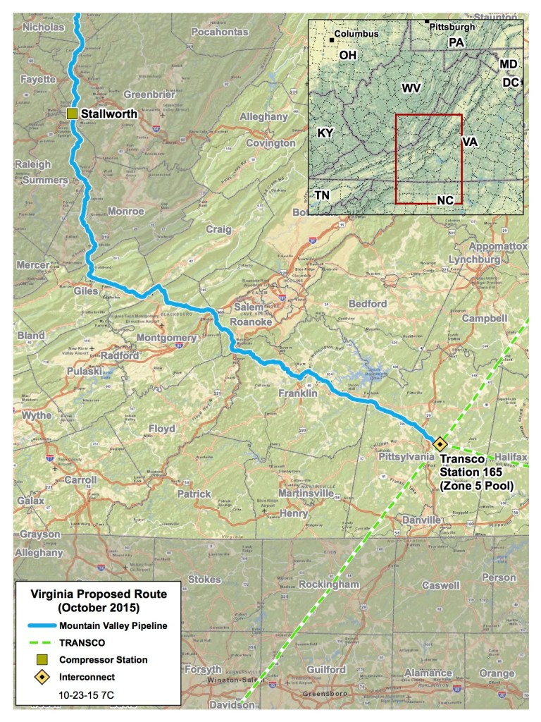 Route through Virginia of the proposed Mountain Valley Pipeline