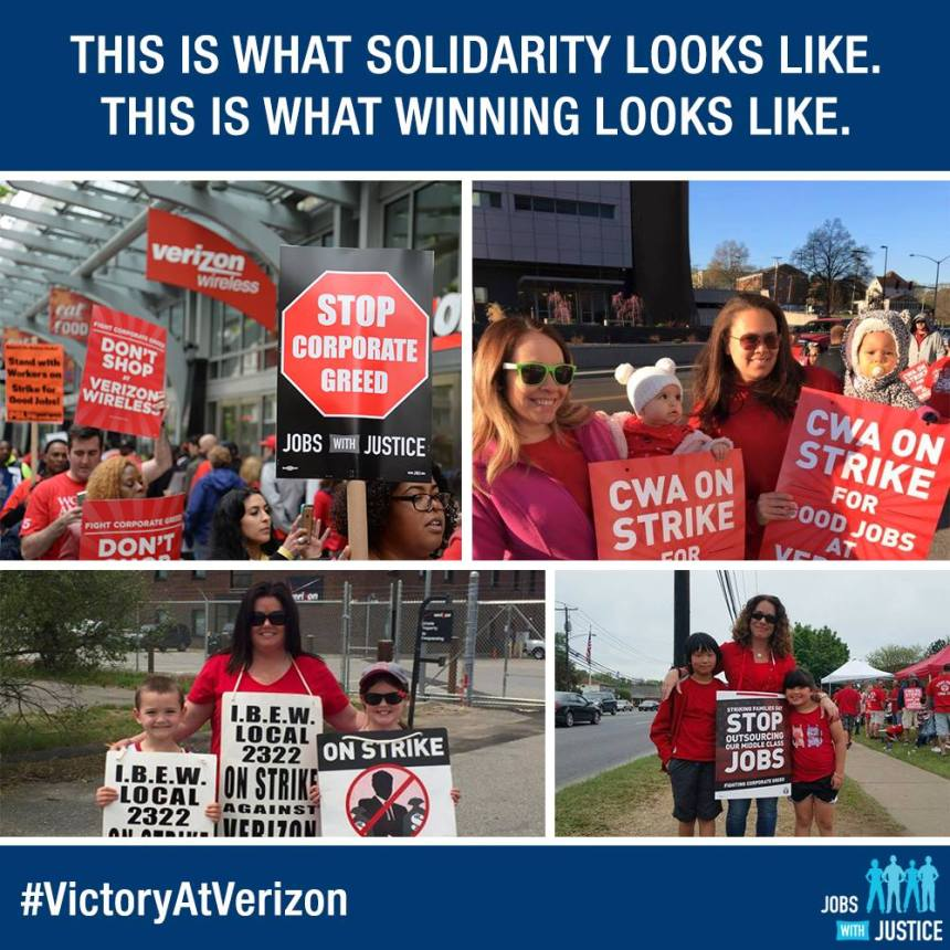 Verizon Strike jobs w justice