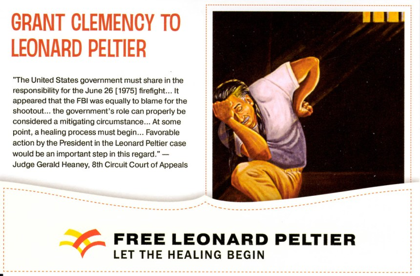 Image courtesy of the International Leonard Peltier Defense Committee.