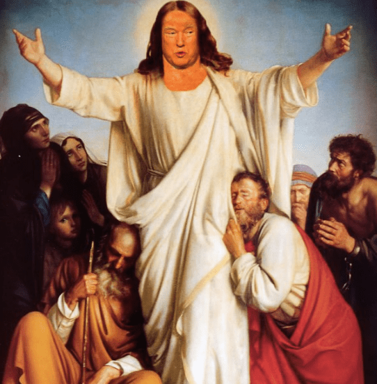 "Photoshop wiz Tahira Mirza's (@tahiramirza1) fabulous depiction of Rick Wilson's ""Cheeto Jesus"""