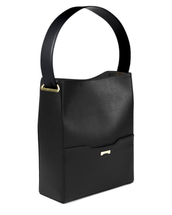Black Bucket bag in sustainable vegan leather