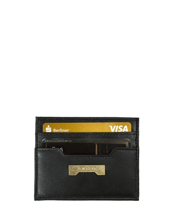 black card holder by Jenah St. in ecofriendly vegan leather affordable luxury