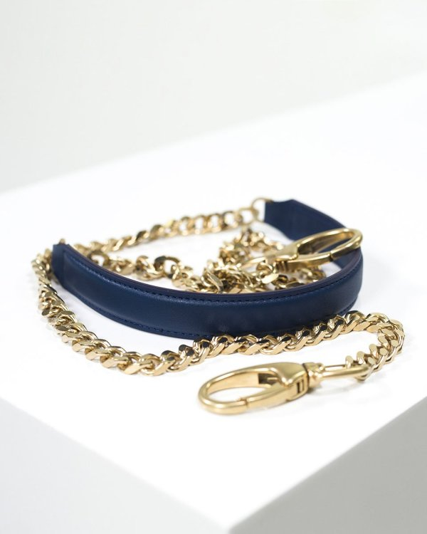 Crossbody dark blue vegan leather chain